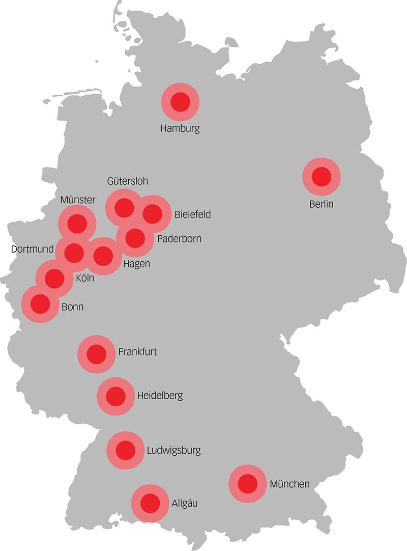Münser, Dortmund, Hagen, Frankfurt, Heidelberg
